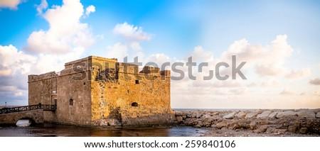 Medieval castle panorama. Cyprus - stock photo