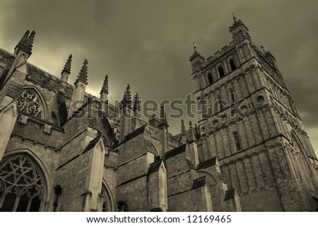 Medieval cathedral with gloomy sky (Exeter, United Kingdom)