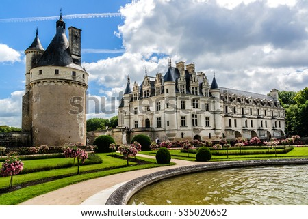 Medieval Chateau de Chenonceau (1514 - 1522) spanning River Cher in Loire Valley in France.