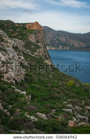 Medieval church  at the upper town of Monemvasia and seaview, Peloponnese, Greece