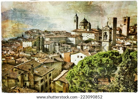 medieval cities of Italy - Bergamo, artwork in painting style - stock photo