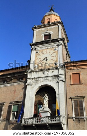 medieval city hall of Piazza Grande, a unesco world heritage site in Modena, Italy - stock photo