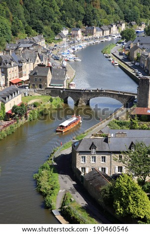 Medieval city of Dinan and his gothic bridge on the Rance, Brittany, France - stock photo