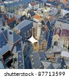Medieval city of Gent (Ghent) aerial view, Belgium - stock photo