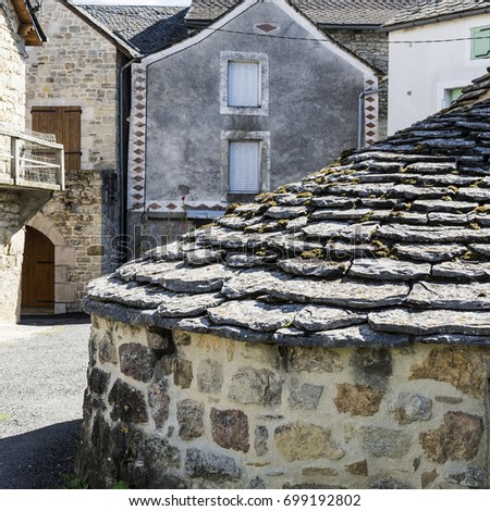 Medieval city of Les Salelles without people and cars in France. Les Salelles is a commune in the Lozere department in the region Occitanie in southern France.