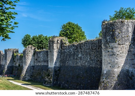 Medieval city wall in Provins. Provins - commune in Seine-et-Marne department, Ile-de-France region, north-central France. UNESCO World Heritage Site. - stock photo