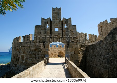 Medieval city walls in Rhodes town, Greece - stock photo