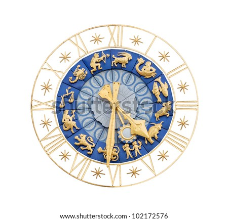 Medieval clock with gilt Roman numerals and Zodiac signs isolated on white background - stock photo