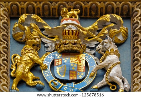 Medieval coat of arms in Bodleian library, Oxford, United kingdom. - stock photo