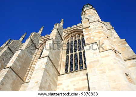 Medieval College Chapel in England against a clear blue Winter Sky - stock photo