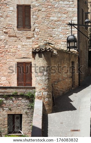 Medieval corner in Assisi, Italy - stock photo