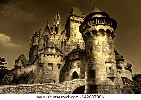 medieval dark castle - stock photo