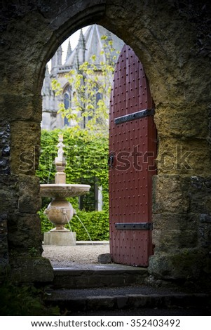 Medieval doorway - stock photo