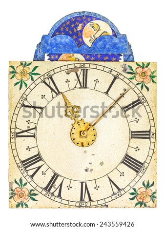 Medieval enamel clock face with moon rotation isolated on a white background