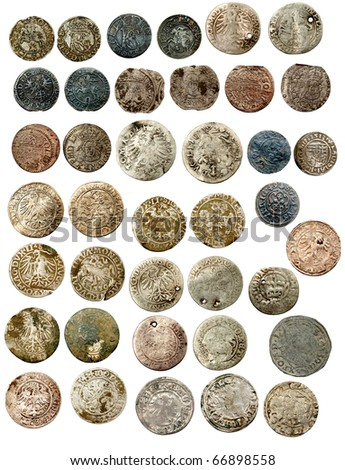 Medieval european coins of XVI c. Poland Lithuania