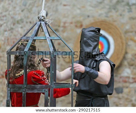 Medieval EXECUTIONER Black Cap On His Stock Photo (Royalty ...