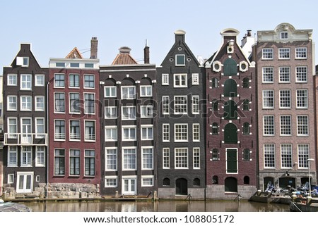 Medieval facades in Amsterdam the Netherlands