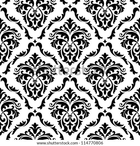 Medieval floral seamless in damask style for design. Vector version also available in gallery - stock photo