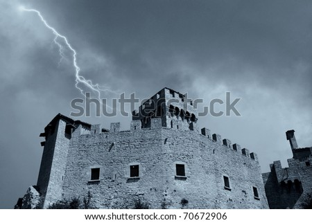 medieval fortress and bad weather - stock photo