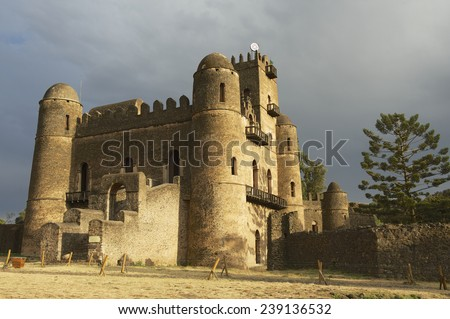 Medieval fortress in Gondar, Ethiopia, UNESCO World Heritage site. - stock photo
