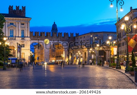 Medieval Gates to Piazza Bra in Verona at night, Italy - stock photo