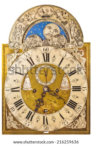 Medieval German clock with moon rotation isolated on a white background - stock photo