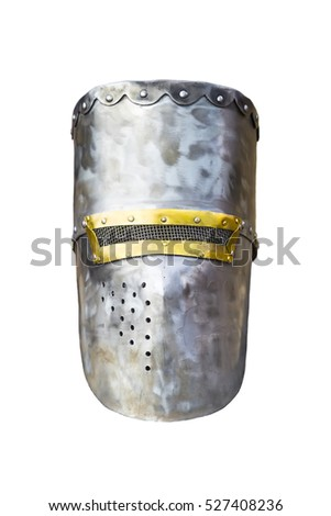 Medieval helmet isolated on white background