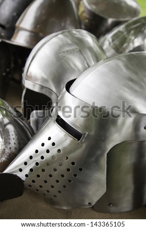 Medieval Helmets, detail of a ancient metal armor of medieval warfare