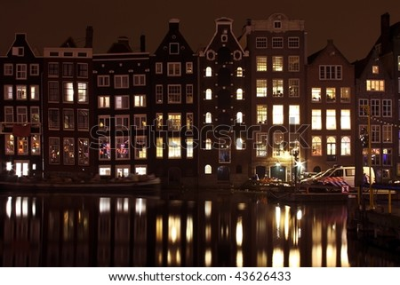 Medieval houses in Amsterdam the Netherlands at night