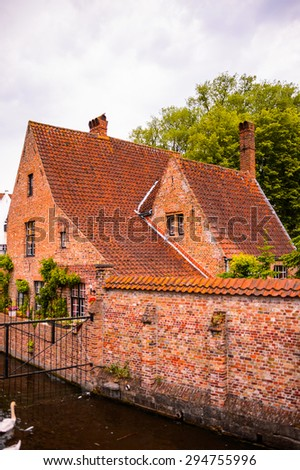 Medieval houses in Historic Centre of Bruges, Belgium. part of the UNESCO World Heritage site