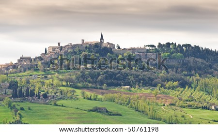 Medieval Italian hill top town of Todi - stock photo