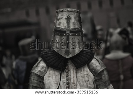 Medieval knight before the battle - stock photo