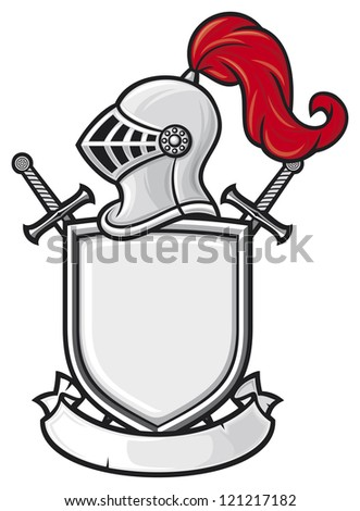 medieval knight helmet, shield, crossed swords and banner - coat of arms (knight head in helmet, heraldic composition) - stock photo