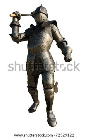 Medieval Knight in armour wielding a mace, 3d digitally rendered illustration - stock photo