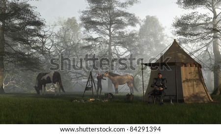 Medieval knight in fifteenth century Milanese armour and his squire in their camp at early morning, 3d digitally rendered illustration - stock photo