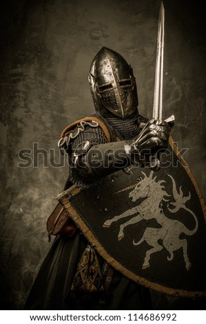 Medieval knight on grey background - stock photo