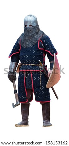 medieval knight, warrior of the Golden Horde. Isolated on white background - stock photo