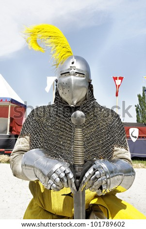 Medieval knights used in battle, tournament at the Castle Stettenfels - stock photo