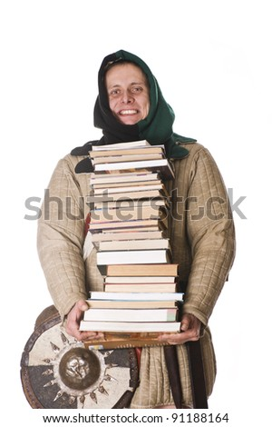 Medieval man with books - stock photo