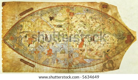 Medieval map of the world drown before Columbus' journey. Photo from old reproduction - stock photo