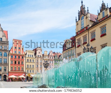 medieval market square (rynek) in  Wroclaw, Poland - stock photo
