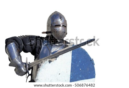 medieval metal armor and helmet mercenary knight swordsman isolated