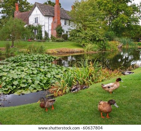 Medieval Moated English Manor and garden with Ducks