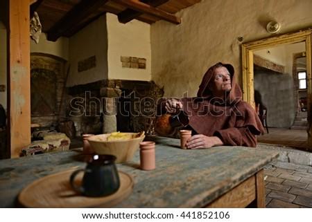 medieval monk - stock photo