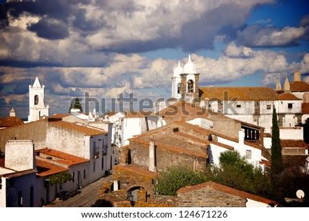 Medieval Monsaraz town in Alentejo region, Portugal panorama - stock photo