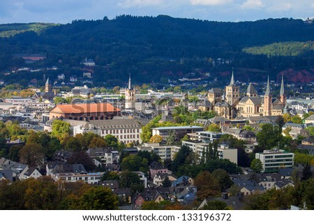 Medieval monuments (Cathedral of Saint Peter,  Basilica of Constantine, St. Gangolf church and others) in Trier, Germany - stock photo