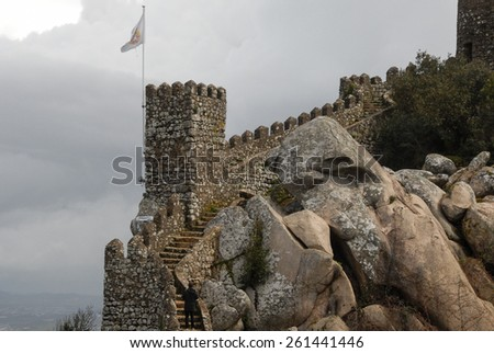 Medieval Moors castle walls in Sintra, Portugal - stock photo