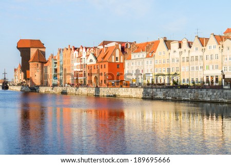 Medieval old town embankment and river Motlawa, Gdansk ,  Poland - stock photo