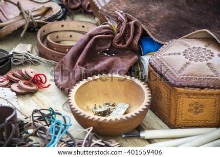 Medieval ornaments, handbag leather buttons and other.