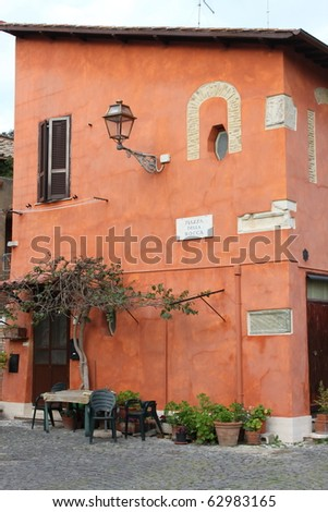 Medieval palace in Rome, Italy - stock photo